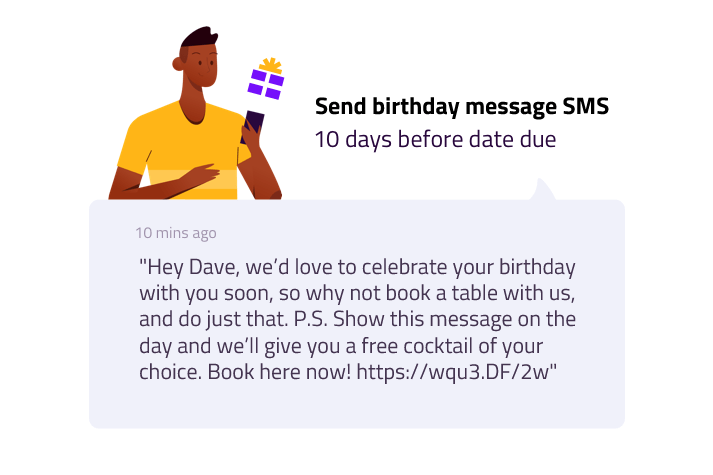 Send an automated birthday message SMS with Springo guest wifi